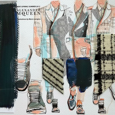 My illustrations of ALEXANDER MCQUEEN MENSWEAR SPRING/ SUMMER 2015