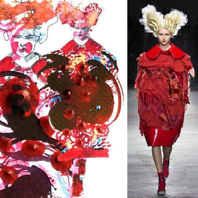 "My illustration of Comme des Garçons spring RTW 2015. ""When in doubt wear red."" ---  Bill Blass"