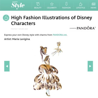 My fashion illustrations for Disney! Fashion illustration inspired by Disney Belle's Dress charm by PANDORA jewellery.  08/12/2015