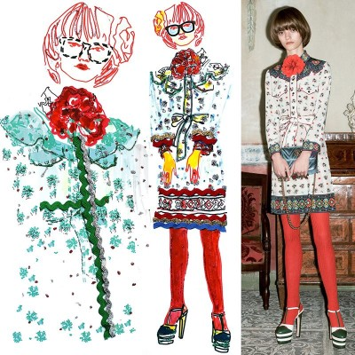 My illustrations of Gucci pre fall 2016 - 18/01/2016