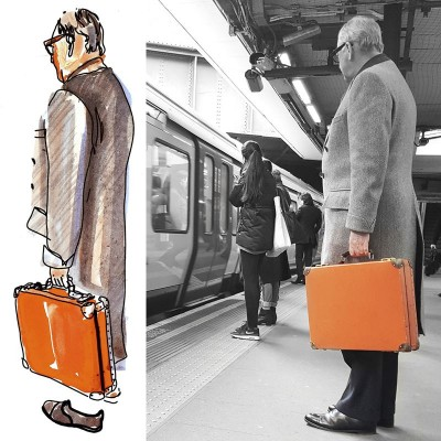 Man with orange valise | Anonymous man spotted at Sloane Square tube station | February 2016, London