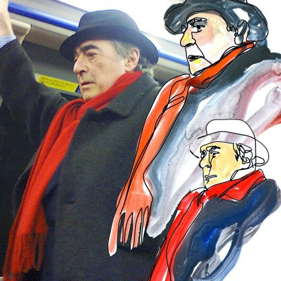 Style has no age! | anonymous man with red scarf | spotted in the tube, London 2014