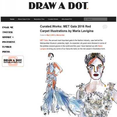 Curated.Works: MET Gala 2016 Red Carpet Illustrations by Maria Lavigina